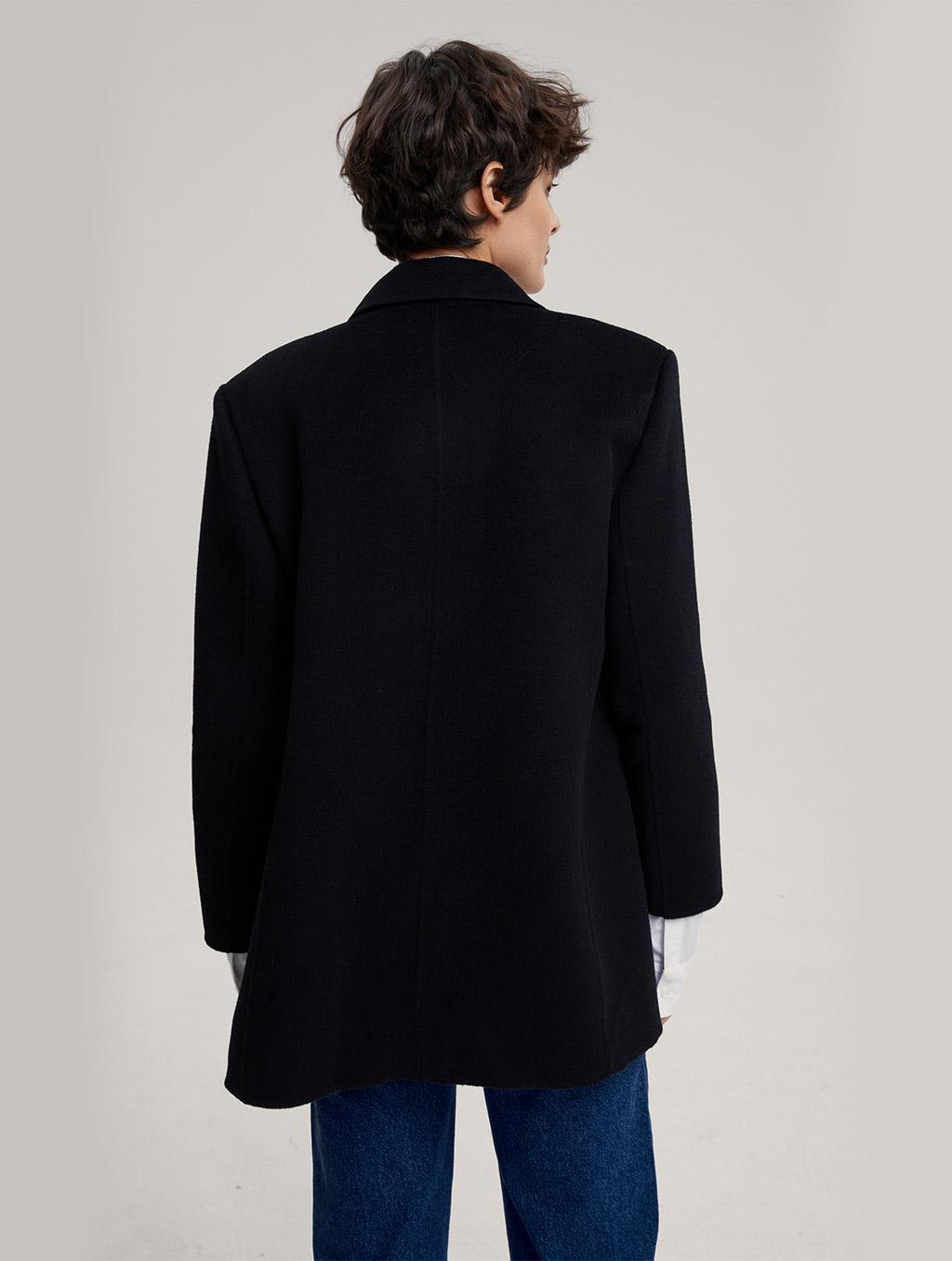 Waisted 100% Camel Hair Coat With Badge-back-black