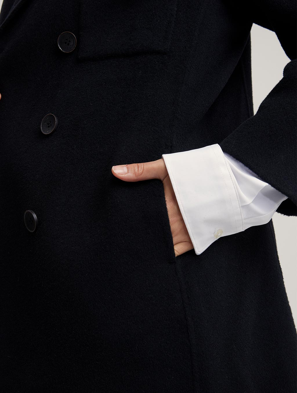 Waisted 100% Camel Hair Coat With Badge-detail2-black