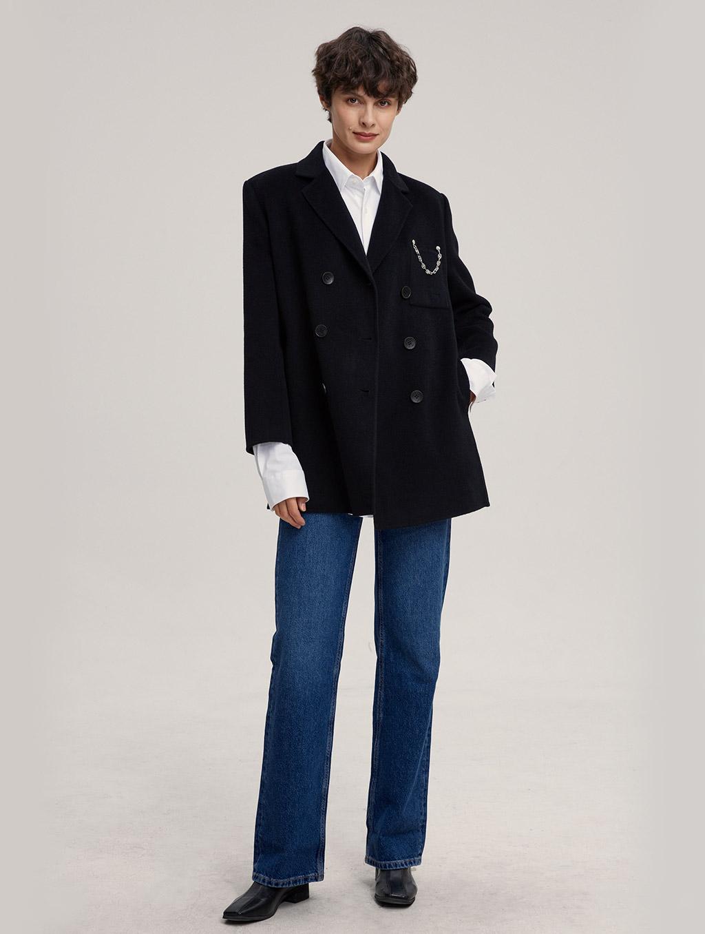 Waisted 100% Camel Hair Coat With Badge-whole body-black