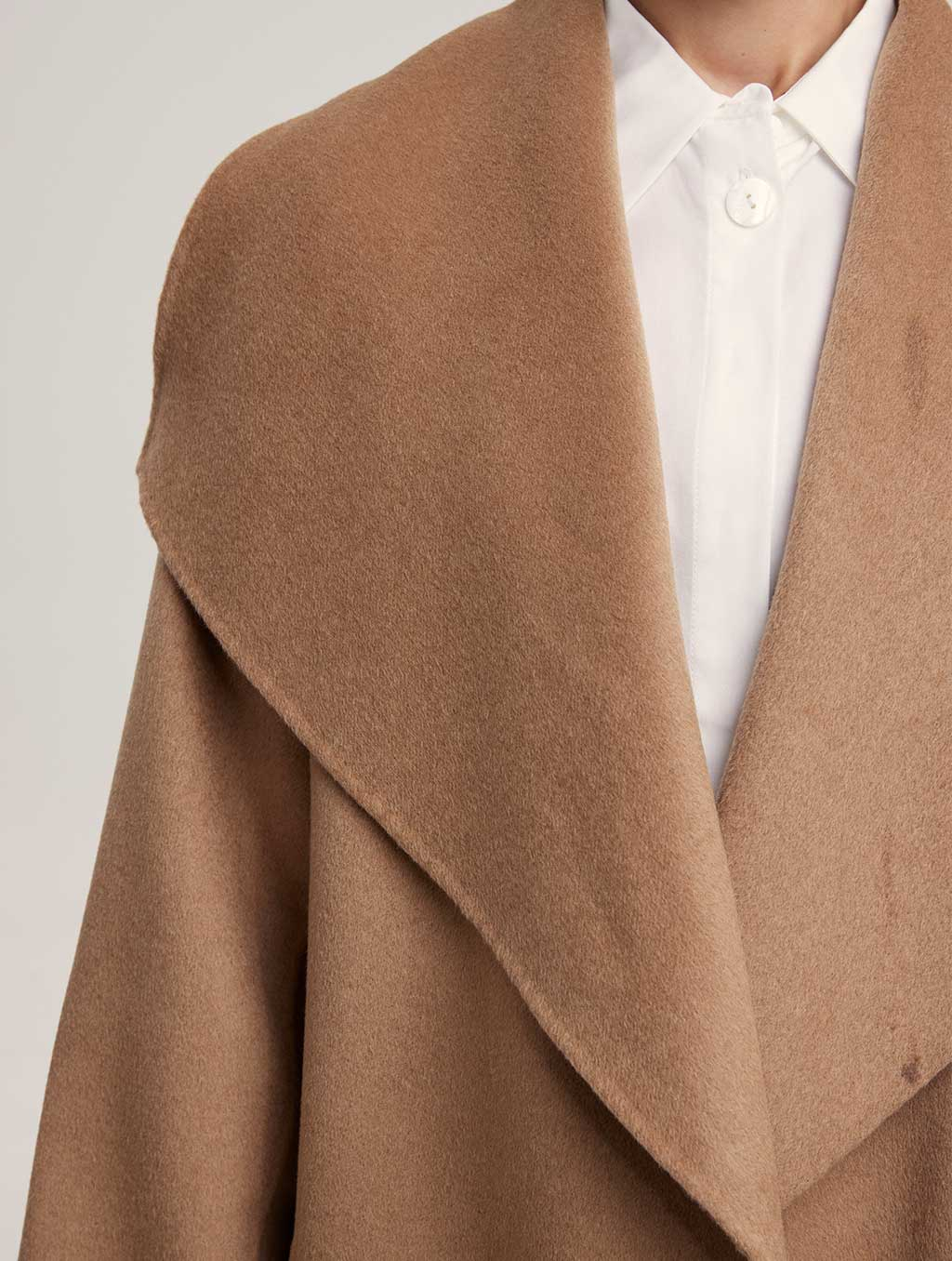 Waisted Belted 100% Camel Hair Coat - detail- Camel