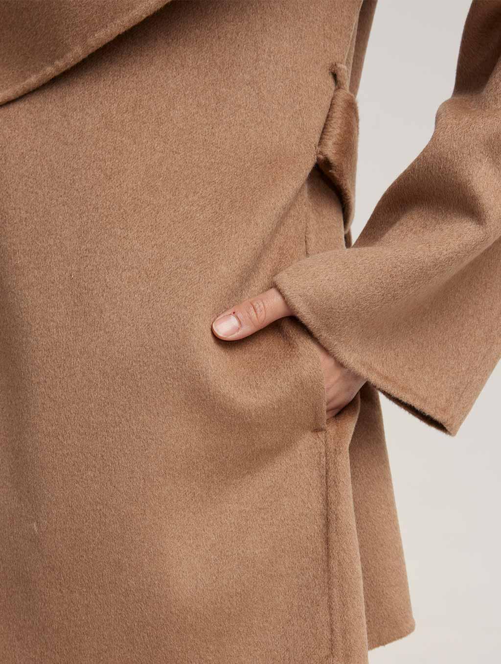 Waisted Belted 100% Camel Hair Coat - detail- Camel2
