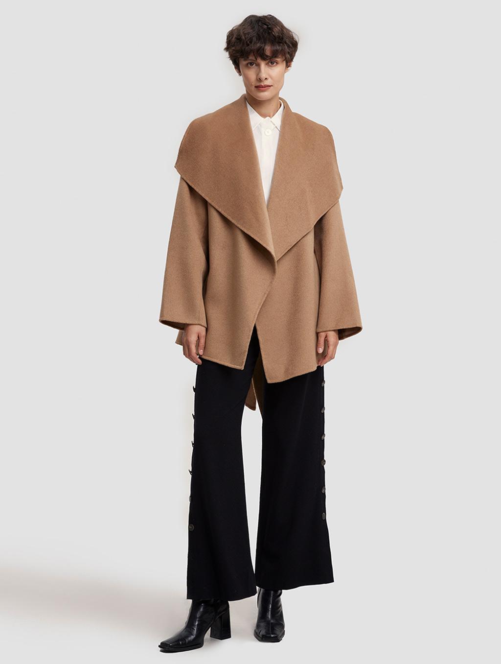 Waisted Belted 100% Camel Hair Coat - positive- Camel
