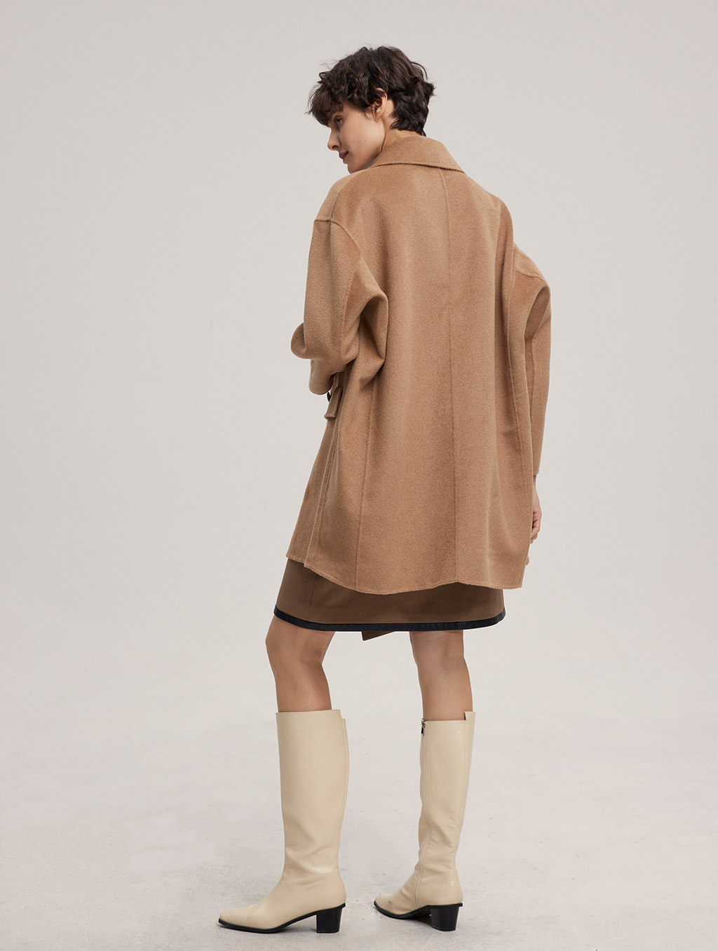 Waisted Double Buttoned 100% Camel Hair Coat-back-camel