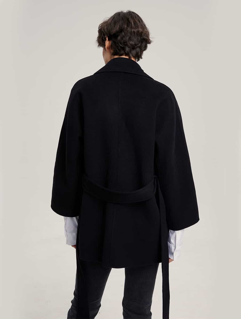 Waisted Pure Cashmere Coat with Straight Sleeves-back-black