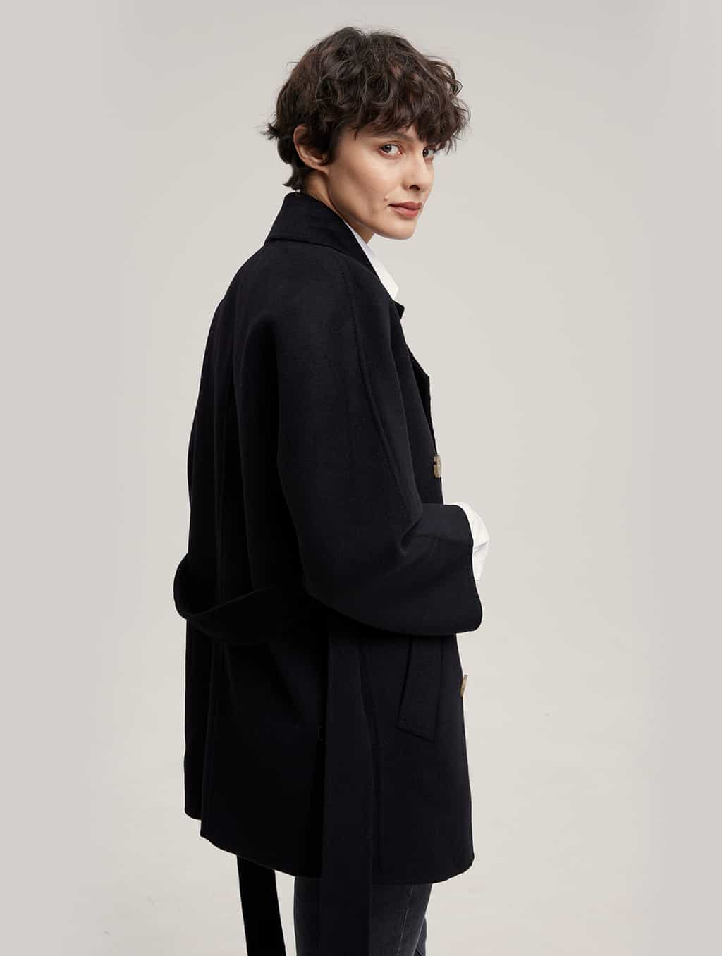 Waisted Pure Cashmere Coat with Straight Sleeves-side-black