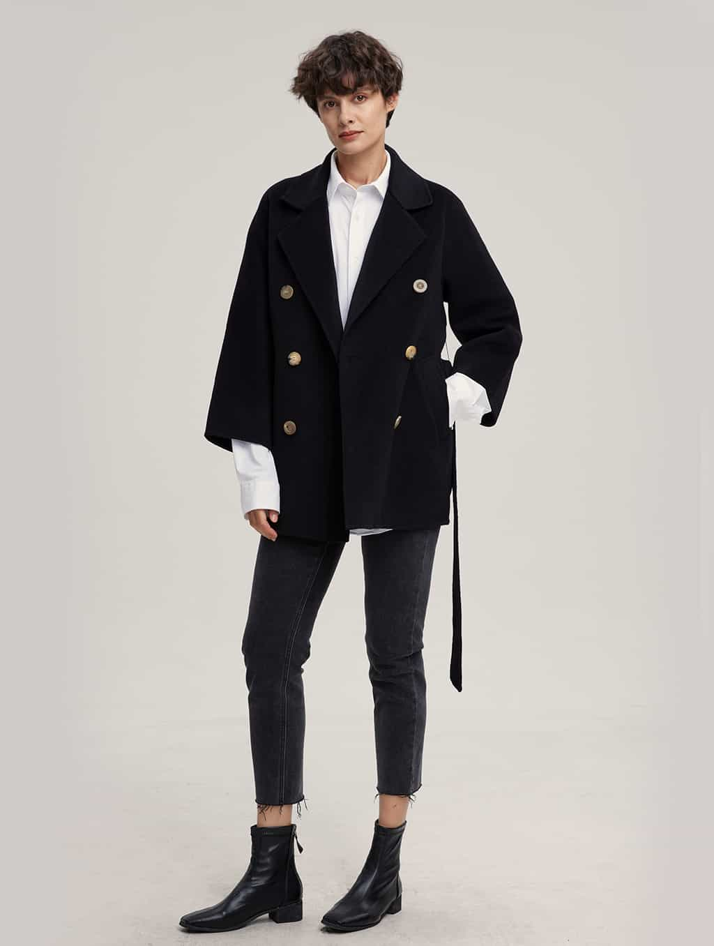 Waisted Pure Cashmere Coat with Straight Sleeves-whole body-black